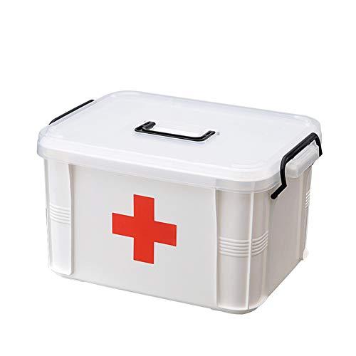 Wizsoula Botiquín de Primeros La Caja Médica Plástica, Kit de Primeros Auxilios Fácil de Mover Caja de Emergencia, Portátil Fuerte y Duradera Caja de Almacenamiento de Medicina Plástica Caja