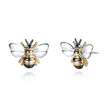 Barzel 18K Gold Plated Enamel Stud Earrings with Shimmering Bumble Bee