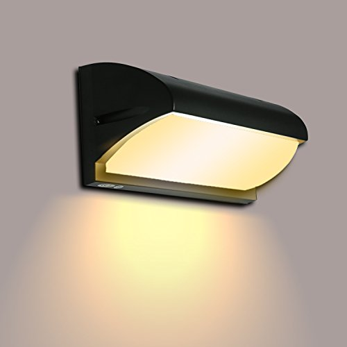 Lightsjoy Außenleuchte LED wand Außenlampe Wasserdicht IP44 Warmweiß LED Wandlampe Aluminium Wandleuchte Wandbeleuchtung Aussen Wandlicht Down Licht Hoflampe Gartenlampe für Outdoor Garten Balkon Flur