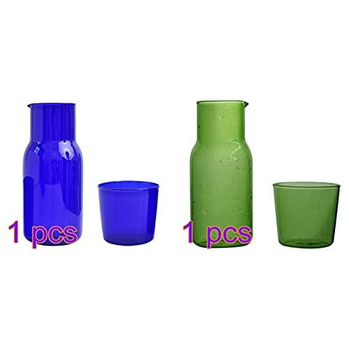 Cabilock - Set di 2 set da comodino, caraffa e tumbler in vetro, 500 ml, con cavetto d'acqua, per la casa, l'ufficio, colore: verde e blu