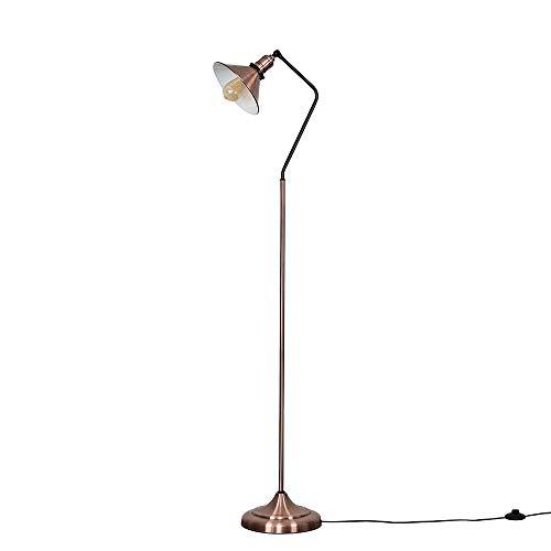 Retro Designer Style Antique Copper & Black Metal Adjustable Reading/Craft Floor Lamp