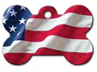 National Flags Large Bone Shape Personalized Custom Engraved Pet ID Tags! (USA Flag)