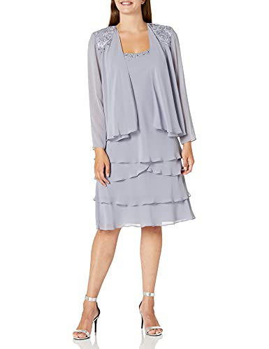 S.L. Fashions Women's Embellished Tiered Jacket Dress (Petite and Regular), Concrete, 8 (Apparel)