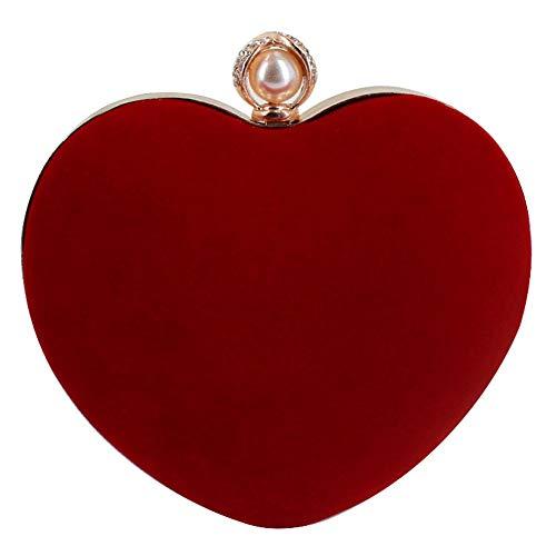 AiSi Mily - Bolso bandolera de mano con forma de corazón, (rojo, (S-red)), Talla única