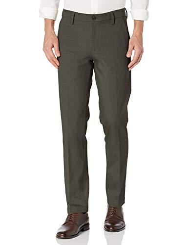 Dockers Pantalon de travail pour homme Coupe droite Kaki Smart 360 Flex - gris - 33W x 32L