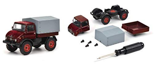 Schuco 452019800 Bausatz Unimog U406, Schraubenzieher, 4 Schrauben, Chassis inkl. Frontachse, hintere Achse, Kabine, Ladefläche, Plane, Modellauto, 1:64, rot