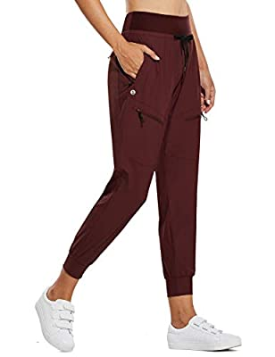 BALEAF Women's Lightweight Jogger Pants with Zipped Pockets Hiking Pants High Waist Quick Dry Red M