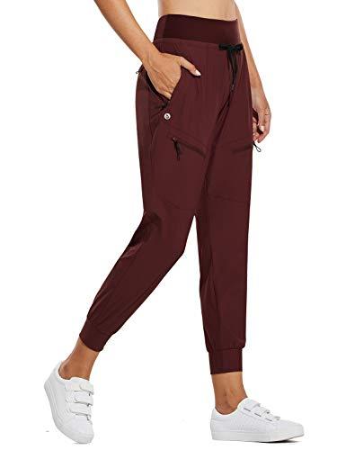 BALEAF Women's Lightweight Jogger Hiking Pants with Zipper Pockets High Waist Quick Dry Red S