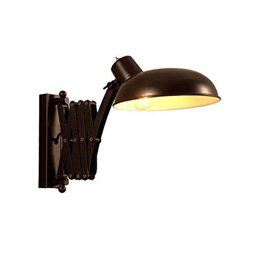 NARUJUBU Lámpara de Pared, lámpara de Pared de Metal Industrial de Lectura de luz de la lámpara de la Vendimia Negro Ajustable lámpara de Pared Extensible Cubierta lámpara de Pared de Dormitorio-Cama