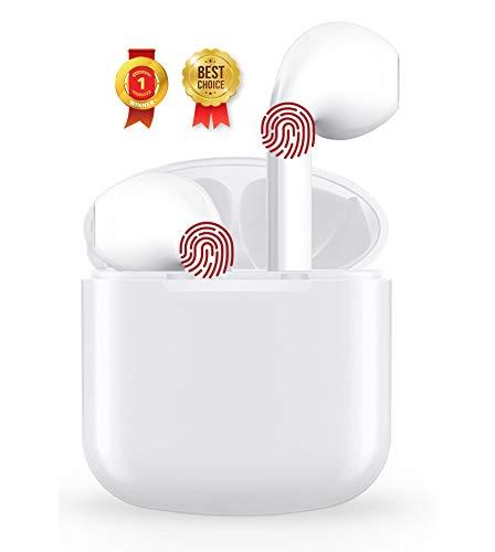 Auriculares Inalámbricos Bluetooth 5 con Micrófonos, Auriculares Bluetooth Sonido Estéreo 3D, 30 Horas y Carga Rápida USB-C, Control Táctil, Deportivos IPX5 Impermeable para Trabajar o Viajar