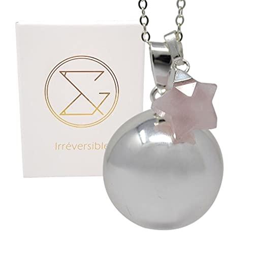 Bola de embarazo, plata lisa, colgante de estrella de cuarzo rosa con cadena fina para mujeres embarazadas, regalo para mamá y futuras madres, creación y diseño francés