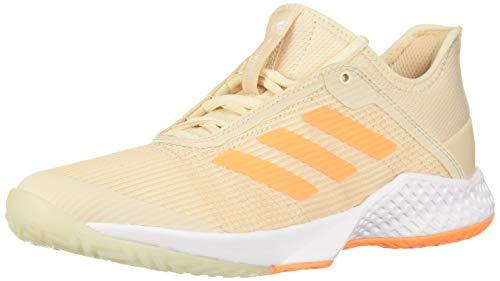 adidas Women's Adizero Club Tennis Shoe, Linen/Flash Orange/White, 8.5 M US