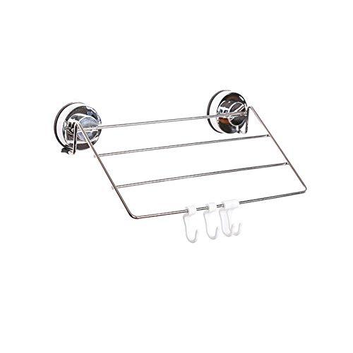 NHLBD Haili Rejilla para Guardar Toallas/Ventosa Estante de Toallas WC Barra for Toallas de baño Toalla Estante Colgante Rod White