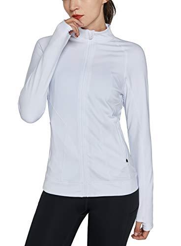 Westkun Damen Laufjacke Langarm Trainingsjacke Voll Reißverschluss Sportjacke mit Daumenloch und Seitentaschen Laufshirt Fitness Sweetshirt, L ,Weiß-Thermo