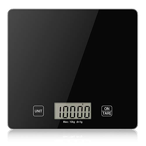 Báscula de Cocina Digital de Alta Precisión 10 kg/22 lbs,Escala Electrónica de Peso de Cocina,Smart Balanza de Alimentos Multifuncional con Gran Pantalla LCD, Función de Tara,Baterías Incluidas