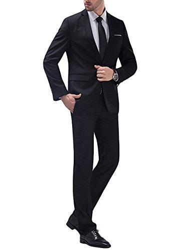 Allthemen Anzug Herren Anzug Slim Fit Herrenanzug Anzüge Anzug Hochzeit Business Schwarz L