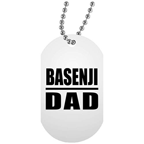 Basenji Dad - Military Dog Tag Collar Colgante Militar Blanca - Regalo para Cumpleaños, Aniversario, Día de Navidad o Día de Acción de Gracias