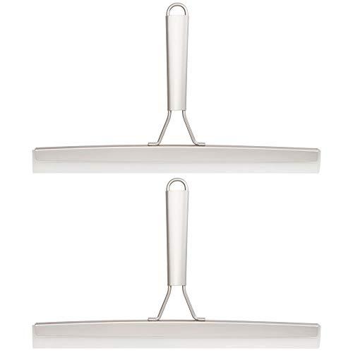 mDesign - Douchewisser - trekker - badkamer- en douche-accessoire voor het schoonmaken van glazen oppervlakken/voor het schoonmaken van ramen spiegels, en douchecabines - 2-delige set - pc satijn