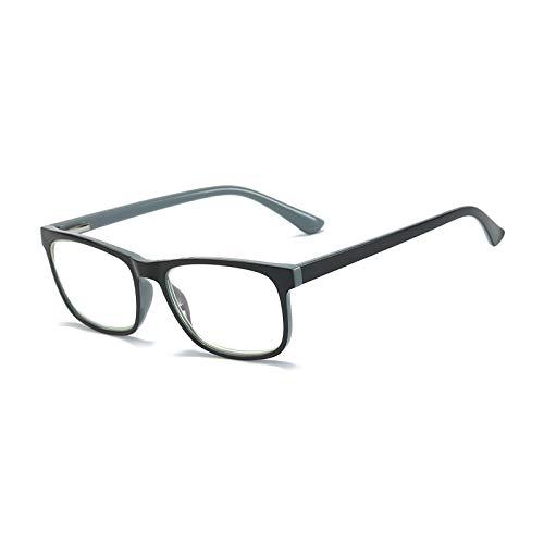MMOWW Gafas de lectura anti-luz azul gafas de ordenador antifatiga de marco completo rectangulares neutrales y de moda, con bisagras de resorte (gris,+2.0)
