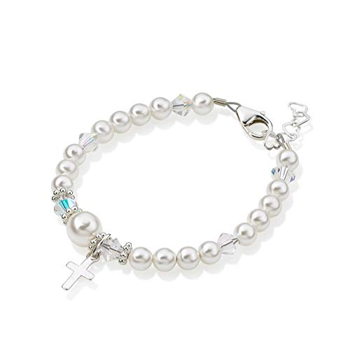 Delicate Sterling Silver Cross Charm Bracelet for Girls - with White Swarovski Simulated Pearls, Crystals and Silver Daisy Spacers - Best First Communion Gift