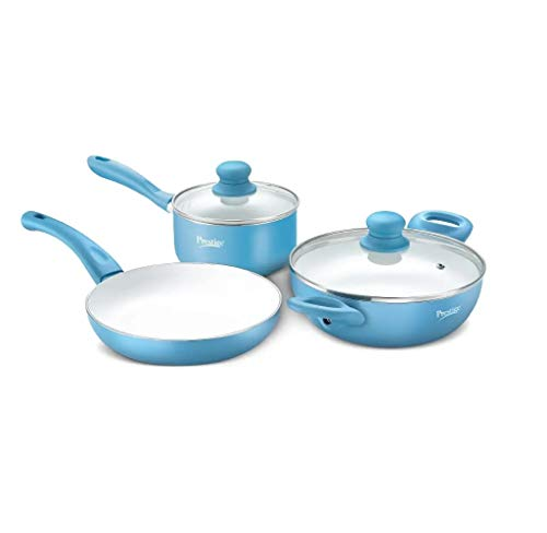 Prestige Deluxe Ceramic Cookware, 3 Piece Set with Induction...