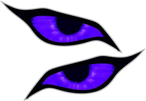 Paar Purple Demon Evil Eyes Eye Design voor Motorhelm Drone etc. Externe Vinyl Auto Sticker Decal 70x30mm Elk