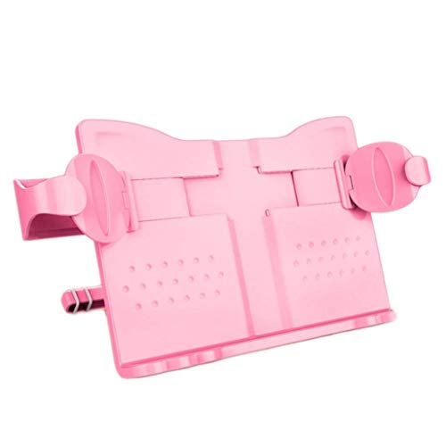 Desktop Shelves Book Stand Holder Adjustable Portable Music Reading And Multifunctional Plastic Book Holder For Reading Office Supplies Office Storage Rack (Color : Pink)