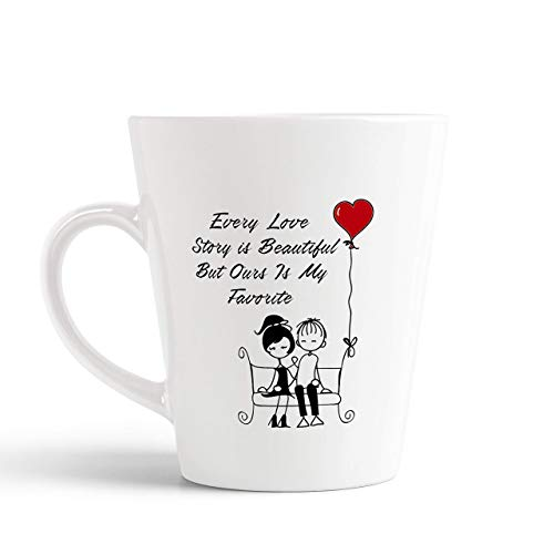 Tonkwalas Every Love Story is Beautiful But Ours is My Favorite Printed Conical Coffee Mug- Love Quote Mug Gift for Girlfriend,...