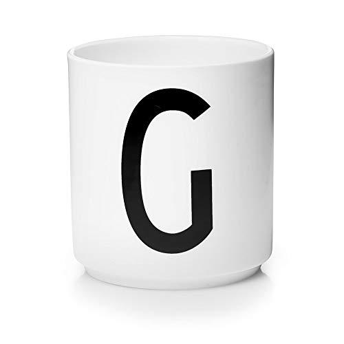 Design Letters Persönliche Porzellantassen (Weiß) - G - Dekorativer und stapelbarer Trinkbecher mit vielen Funktionen, Erhältlich von A-Z, Spülmaschinenfest, Zubehör ist separat erhältlich, 250 ml