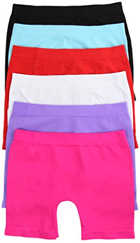 ToBeInStyle Girl's Pack of 6 Long Boyshorts - Solid Colors - Small