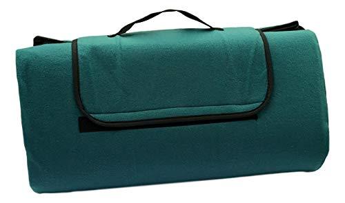 Alpenwolle XXL Picknickdecke Outdoordecke Fleece wasserdichte Unterseite 200 x 200 cm Uni (Petrol)