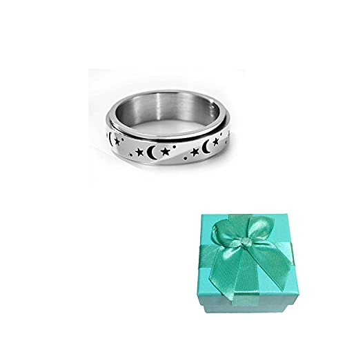 925 Sterling Silver Moon & Stars Spinning Anxiety Ring - with Exquisite Gift Box Stress Relieving Anxiety Ring, Fidget Spinner Rings, for Boys and Girls Size 5-11 (11)