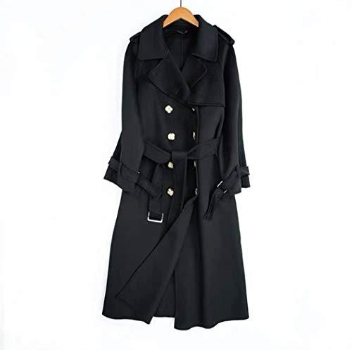 JameStyle26 Damen Wollmantel Wintermantel mit 80% Wolle Casual-Look Trenchcoat Lang Parka (L, Schwarz)