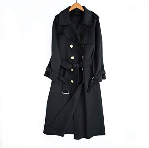 JameStyle26 Damen Wollmantel Wintermantel mit 80% Wolle Casual-Look Trenchcoat Lang Parka (L, Schwarz)