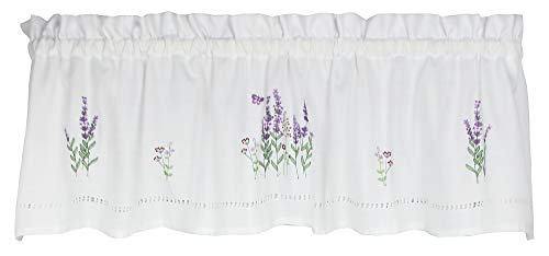 Moments 58 Inches Wide x 14 Inches Long Polyester Lavender Embroidered Valance Curtain, White