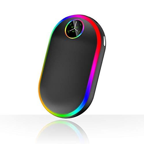 Scaldamani Ricaricabile con Luci (7 colori), 10000mAh Luminescenza Elettrico Scaldamani, Portatile USB Riutilizzabile Scaldamani Tascabile, Regalo Invernale Per Uomini Donn (Nero)