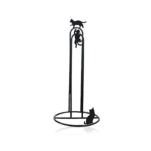 Sport Tent Küchenrollenhalter stehend, Rollenhalter Ohne Bohren Küchentuchständer Ersatzpapierrollenständer, 47 cm Höhe, Metall, Matt Schwarz