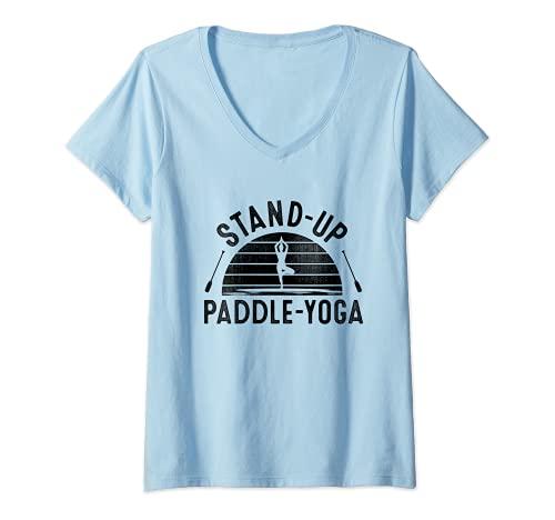 Femme Stand Up Paddle Yoga Sup Board Surfer Paddling Sports aquatiques T-Shirt avec Col en V