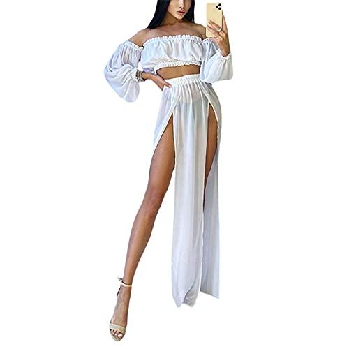 L&ieserram Strandkleid Damen Lang Strand Maxi Rock + Off Shoulder Oberteil Crop Top Sommerkleid Chiffon High Waist Bikini Cover Up Transparent Sommer Strand Bademode Outfit (Weiß, Einheitsgröße)