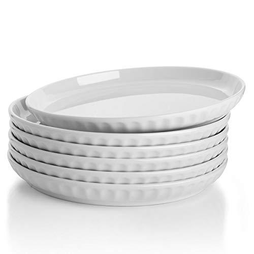 Sweese 157.001 Porcelain Fluted Dessert Salad Plates - 7.4 Inch - Set of 6, White