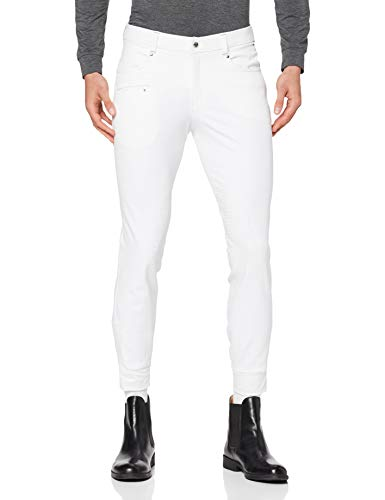HKM Erwachsene Herren-Reithose-San Lorenzo-Silikon-Kniebesatz1200 weiß48 Hose, 1200 weiß, 48