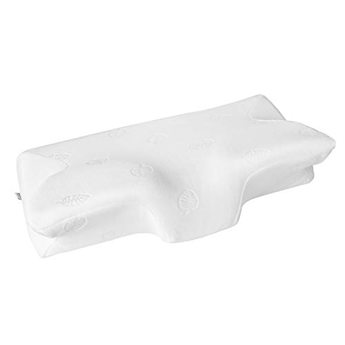 MARNUR Cervical Pillow Contour Memory Foam Orthopedic Pillow for Neck Pain Sleeping for Side Sleeper Back Sleeper Stomach Sleeper+White Pillowcase