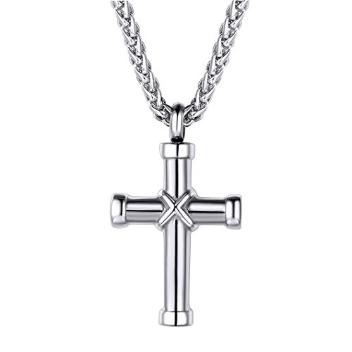 Custom Cross Cremation Urns for Human Ashes Adult Stainless Steel Christian Religious Jewelry Engravable Keepsake Pendant with Chain Memorial Gift
