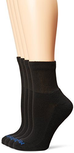 Medipeds Women's Diabetic Quarter Socks with Non-Binding Top and Cushion 4 Pairs, Black, Shoe Size 7-10/Sock Size 9-11