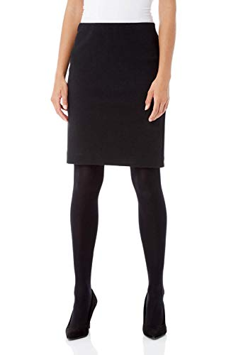 Roman Originals Women Short Skirt - Ladies Textured Pull On Mini Stretch Cotton Jersey Pencil Tube Smart Summer Bodycon Knee Length A-Line Straight Work Office Formal Thick - Black - Size 18