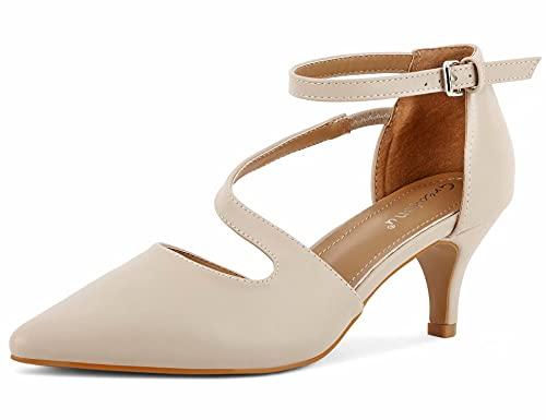 Greatonu Zapatos de tacón para mujer con correa en el tobillo y tacón de gato., Beige T., 40 EU