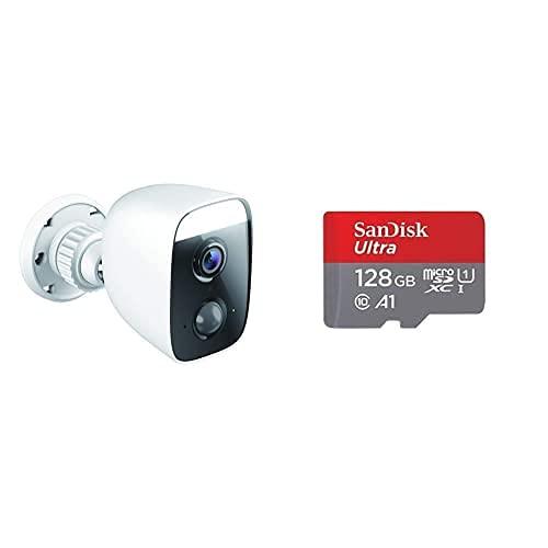 D-Link DCS-8627LH - Cámara Exterior WiFi Control por Voz+SanDisk Ultra Tarjeta de Memoria microSDXC con Adaptador SD, hasta 120 MB/s, Rendimiento de apps A1, Clase 10, U1, 128 GB