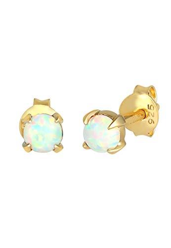 Elli Ohrringe Damen Ohrstecker Filigran Trend mit synthetischem Opal in 925 Sterling Silber