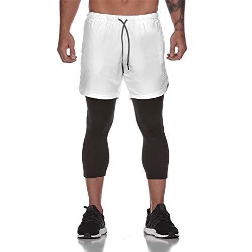 Ducomi Herren Fitness Shorts + Leggings Kompression Running 2-in-1 - Lange Hose und Shorts Gym - Leichte Sporthose für Laufen, Sport, Fitnessstudio und Basketball, Weiß L