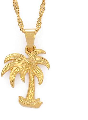Aluyouqi Co.,ltd Colgante de árbol de Coco para Mujer, Collar con dijes pequeños, joyería de Estilo oceánico Dorado, Cadena de Ondas de Agua, Regalo # 016416